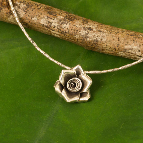 Hand Crafted Silver Necklace with Rose Pendant from Thailand 'Luminous Rose'