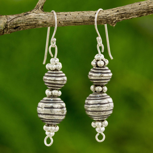 Hand Crafted Silver Dangle Earrings with Oxidized Finish 'Worldly Karen'