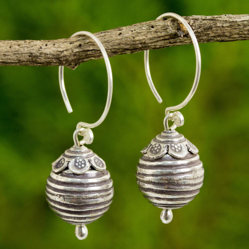 Artisan Crafted 950 Silver Dangle Earrings from Thailand 'Karen New Year'
