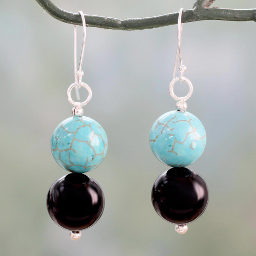 Onyx Earrings with Reconstituted Turquoise Crafted in India 'Azure at Midnight'