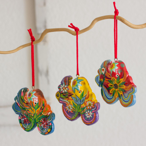 Handcrafted Ceramic Octopus Ornaments Set of 6 'Floral Octopus'