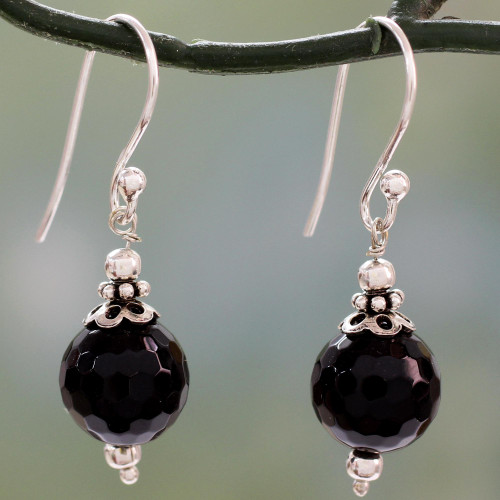 Artisan Crafted Sterling Silver Earrings with Black Onyx 'Glorious Black'