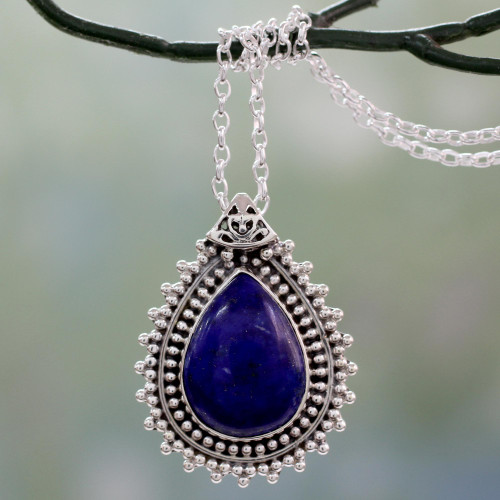 Lapis Lazuli Necklace from India Crafted with 925 Silver 'Blue Antiquity'