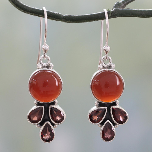 Colorful Fair Trade Gemstone Earrings from India 'Ardent Color'