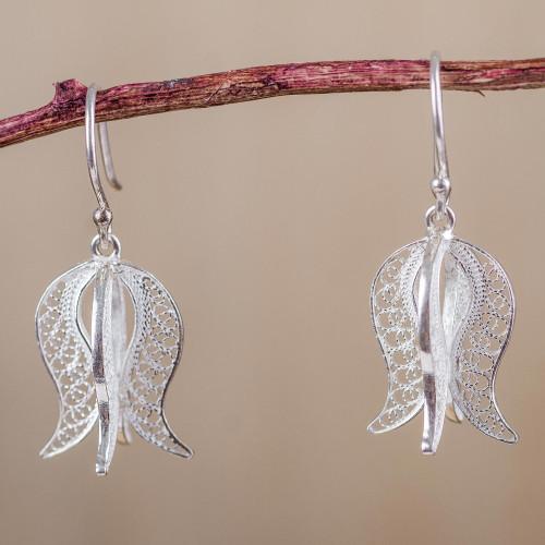 Andean Sterling Silver Floral Filigree Dangle Earrings 'Filigree Tulip'