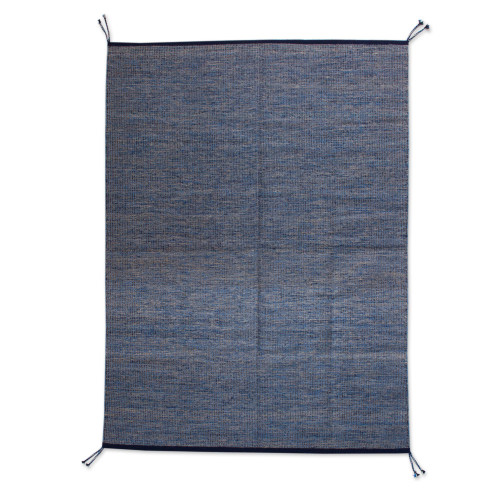 Artisan Crafted Zapotec 100 Wool Area Rug from Mexico 'Blue Night'
