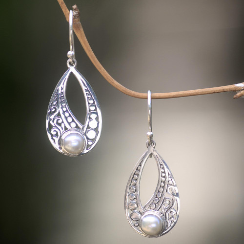Sterling Silver Cultured Pearl Earrings with Cutout Motifs 'Sweet Forest Moonlight'
