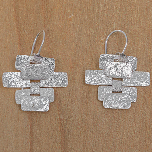 Handcrafted Contemporary Balinese Silver Earrings 'Building a Masterpiece'