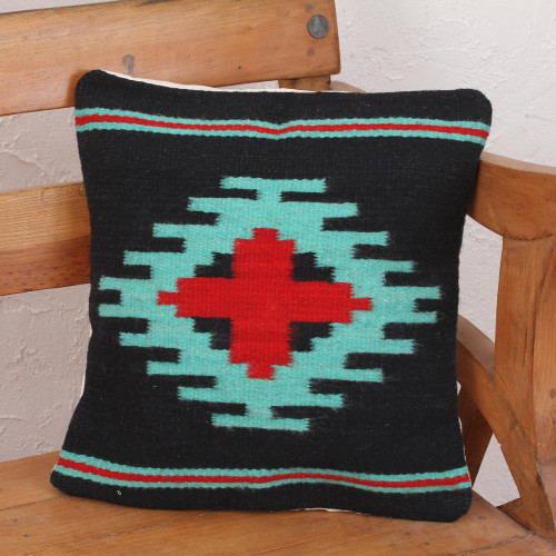 Zapotec Handwoven Geometric Motif Navy Wool Cushion Cover 'Red Oaxaca Star'