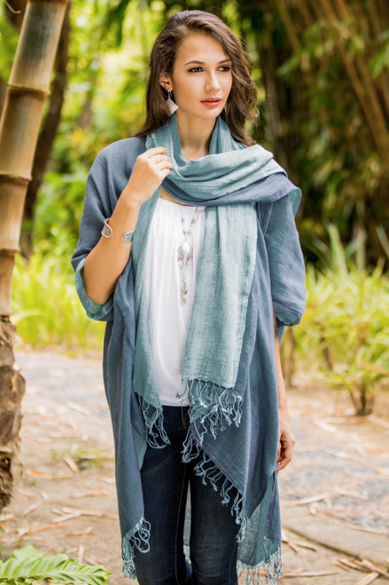 100 Cotton Blue Jacket and Scarf Set from Thailand 'Blue Mystique'