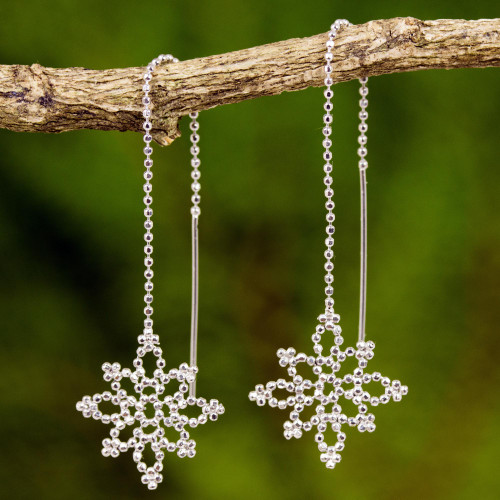 Sterling Silver Snowflake Dangle Earrings from Thailand 'Silver Snowflakes'