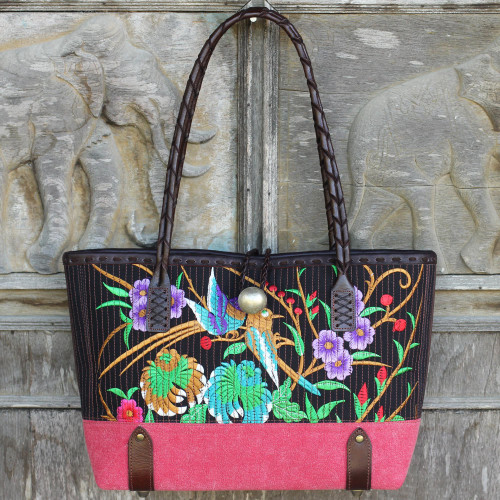Floral 100 Cotton Embroidered Handbag in Black and Red 'Mandarin Tropical'