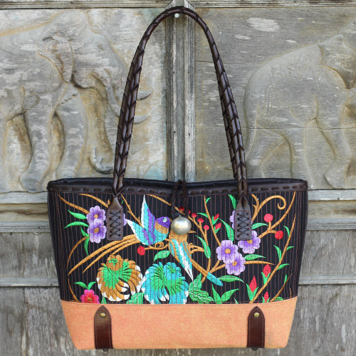 Embroidered Cotton Shoulder Bag with Floral Motif 'Mandarin Tropical in Yellow'