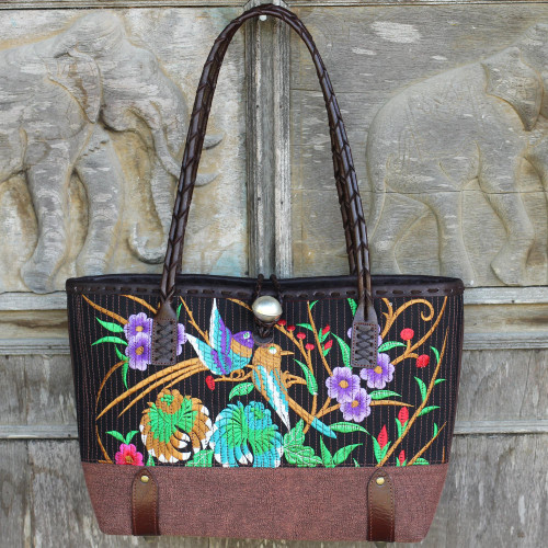 Cotton Floral Embroidered Shoulder Bag with Leather Accents 'Mandarin Tropical in Brown'