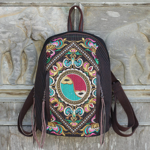 Colorful Embroidered Cotton Backpack with Yin and Yang 'Yin-Yang Journey'