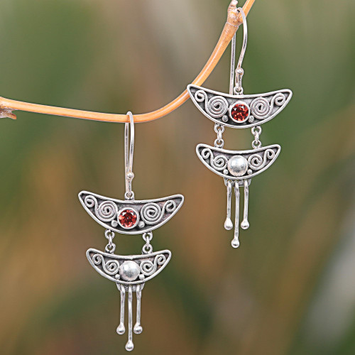 Handcrafted Sterling Silver Balinese Earrings with Garnets 'Balinese Pagoda'