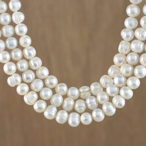 Artisan Crafted Thai Triple White Pearl Strand Necklace 'Triple White Halo'
