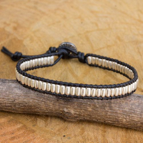 Hand Crafted Silver Bead and Leather Cord Bracelet 'Matte Chic'