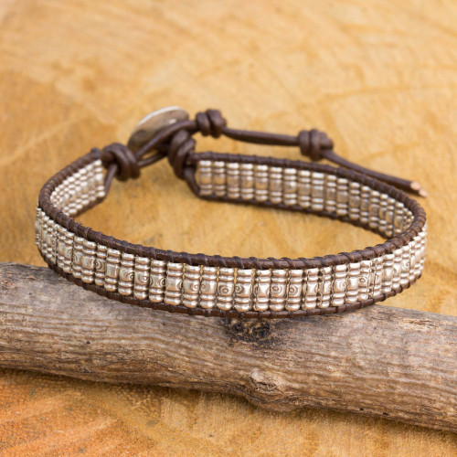 Hand Crafted Silver and Brown Leather Beaded Bracelet 'Karen Spiral'
