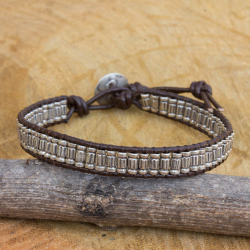 Artisan Crafted Silver and Leather Beaded Cord Bracelet 'Karen Stripe'
