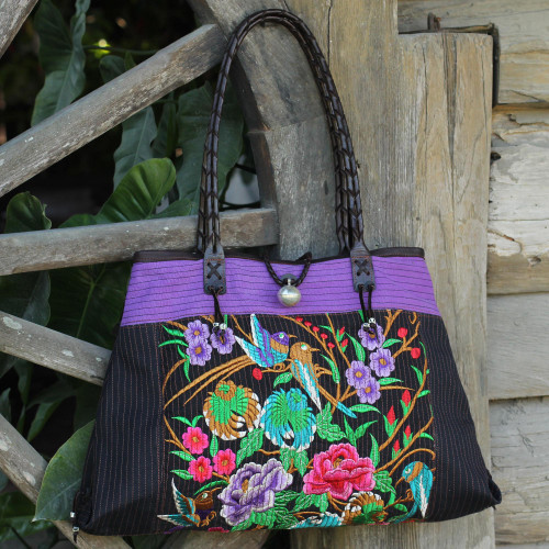 Artisan Crafted Cotton Shoulder Bag with Embroidery 'Mandarin Season'