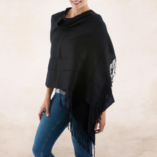 Black Baby Alpaca Handwoven Peruvian Shawl 'Timeless in Black'