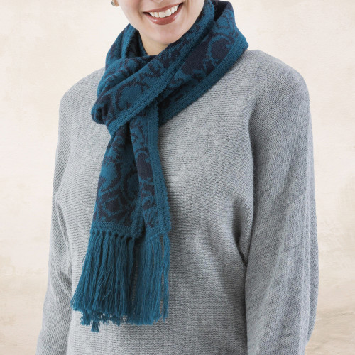 Turquoise and Blue Reversible Alpaca Blend Jacquard Scarf 'Turquoise and Blueberry'