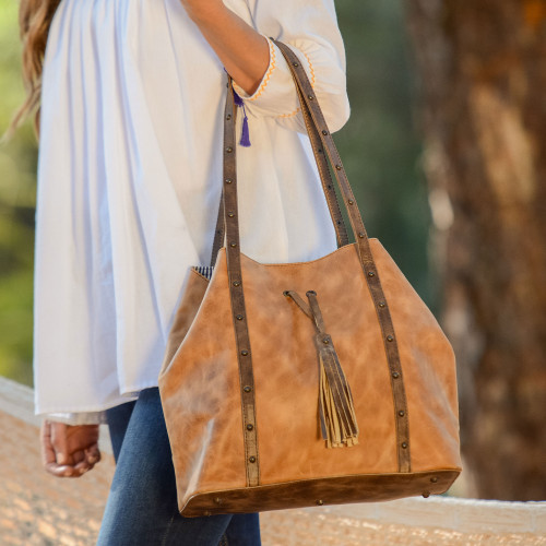 Artisan Crafted Dual Toned Leather Bag from Mexico 'Southwestern Spirit'