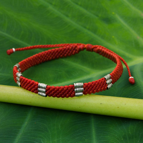 950 Silver Accent Braided Wristband Bracelet from Thailand 'Karen Bamboo in Scarlet'