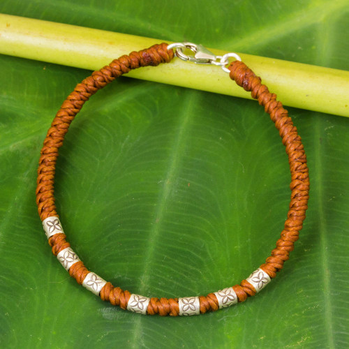 950 Silver Accent Wristband Bracelet from Thailand 'Happy Flower in Rust'