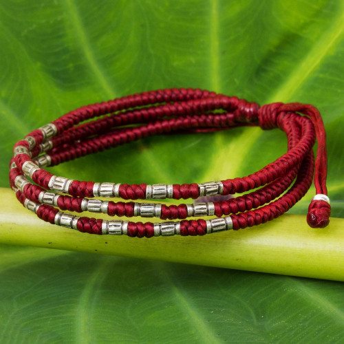 950 Silver Accent Wristband Braided Bracelet from Thailand 'Forest Thicket in Red'
