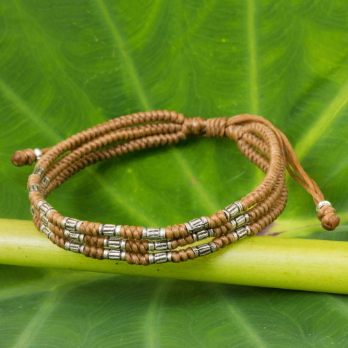 950 Silver Accent Wristband Braided Bracelet from Thailand 'Forest Thicket in Tan'