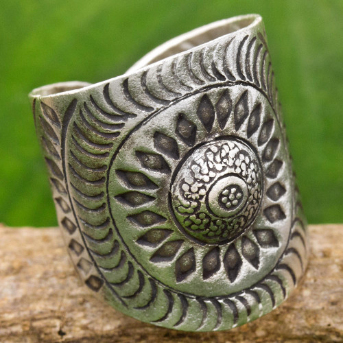 Hand Made Sterling Silver Wrap Ring Floral Thailand 'Karen Aster'