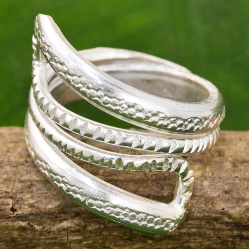 High Polish Textured Sterling Silver Wrap Ring Thailand 'Snake Path'