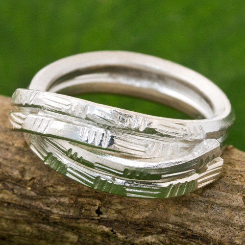 Sterling Silver Cocktail Ring Karen Tribe from Thailand 'Layers of Love'