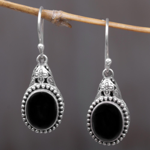 Sterling Silver Onyx Dangle Earrings from Indonesia 'Deepest Night'
