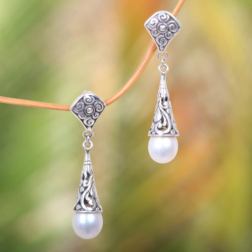 Balinese Cultured Pearl Earrings Crafted of Sterling Silver 'Lotus Bud Promise'