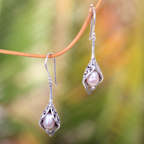 Balinese Cultured Pearl Earrings Crafted of Sterling Silver 'White Calla Lily'