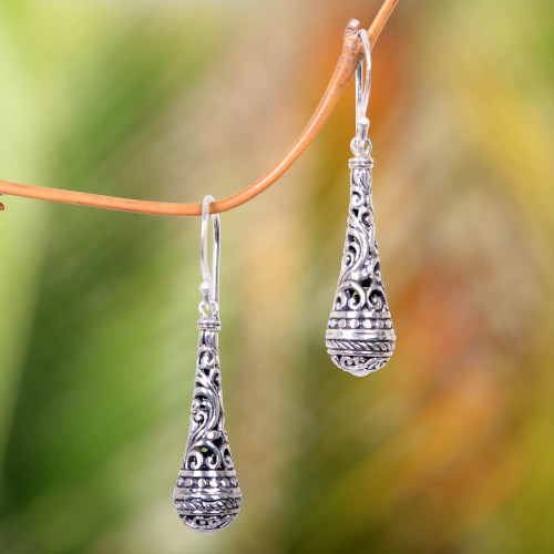 Fair Trade Handcrafted Dangle Earrings in Sterling Silver 'Silent Scepter'