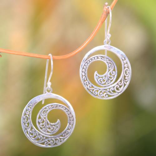 Original Balinese Earrings Handcrafted of Sterling Silver 'Ferns in Moonlight'