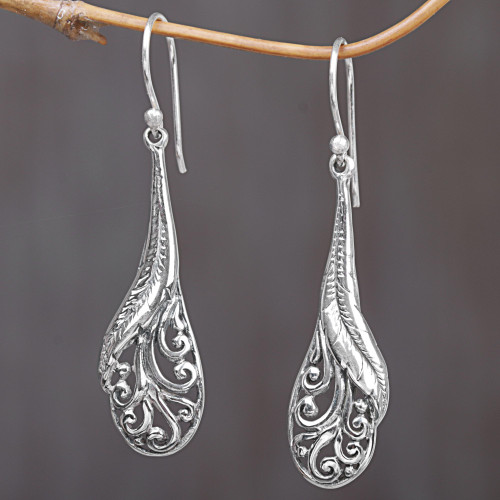Hand Made Sterling Silver Feather Dangle Earrings Indonesia 'Floating Peacock Feathers'