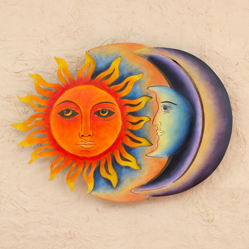 Colorful Steel Sun and Moon Eclipse Wall Art Sculpture 'Festive Eclipse'