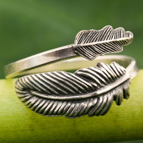 Hand Made Sterling Silver Wrap Ring Feather from Thailand 'The Feather'
