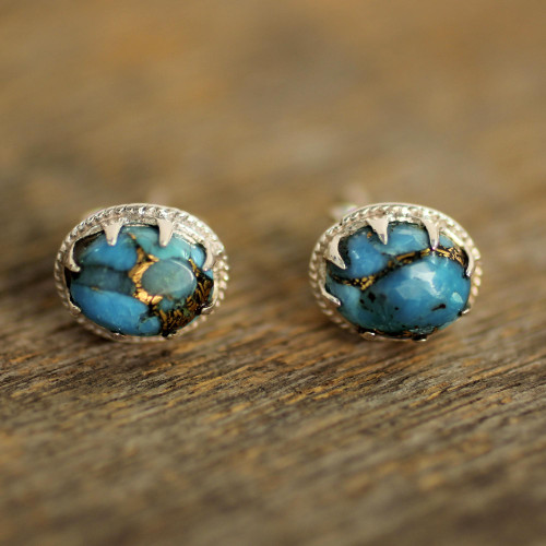 Sterling Silver Stud Earrings with Blue Composite Turquoise 'Morning in Blue'