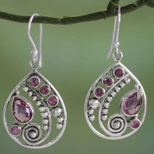 Sterling Silver Amethyst Dangle Earrings from India 'Lilac Radiance'