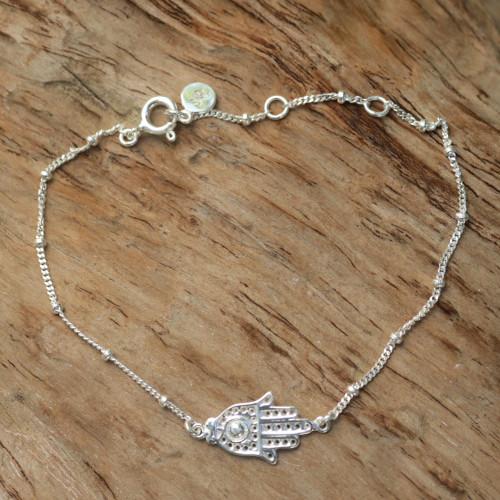 Handmade Sterling Silver Hamsa Hand Bracelet from Indonesia 'Silver Hand'