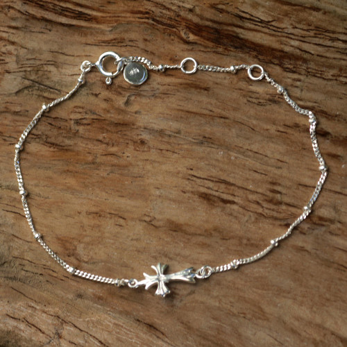 Handmade Sterling Silver Cross Bracelet from Indonesia 'Simple Cross'
