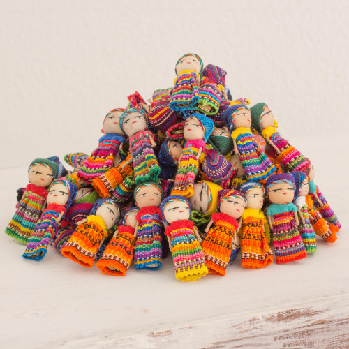 Set of 100 Guatemalan Worry Dolls with Pouch in 100 Cotton 'The Worry Doll Clan'
