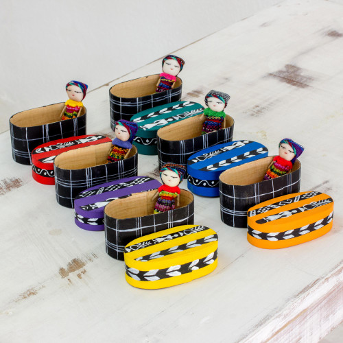 Six Cotton Worry Dolls and Pinewood Boxes from Guatemala 'Country Treasures'