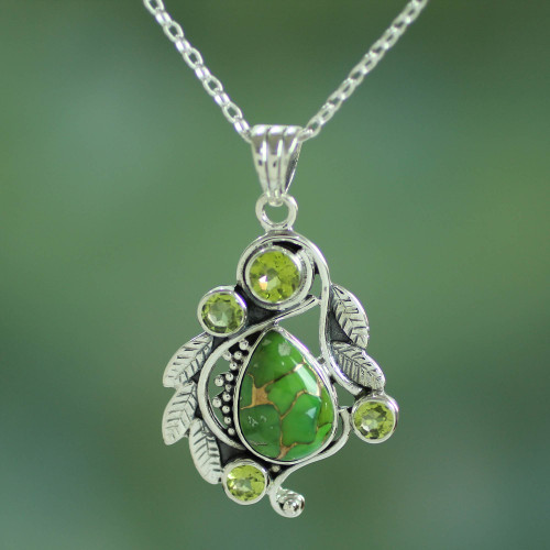 Handmade Composite Turquoise and Peridot Necklace 'Misty Green Forest'